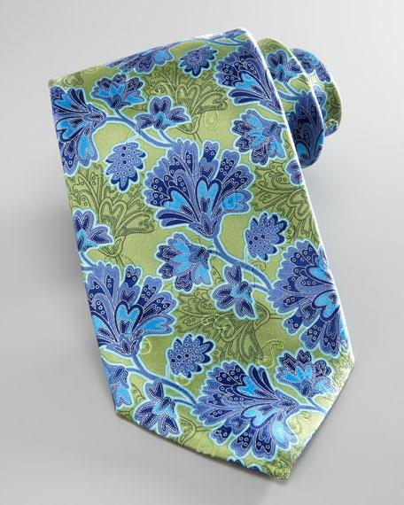 Leafy-Floral Silk Tie, Green