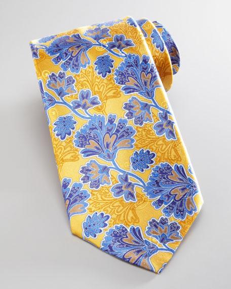 Leafy-Floral Silk Tie, Yellow