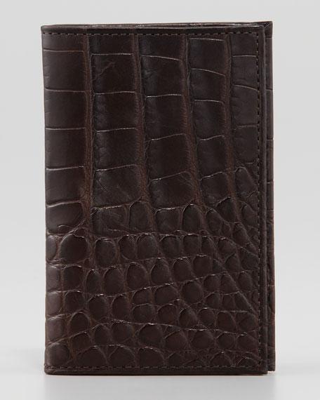 Slim Alligator Credit Card Case, Espresso
