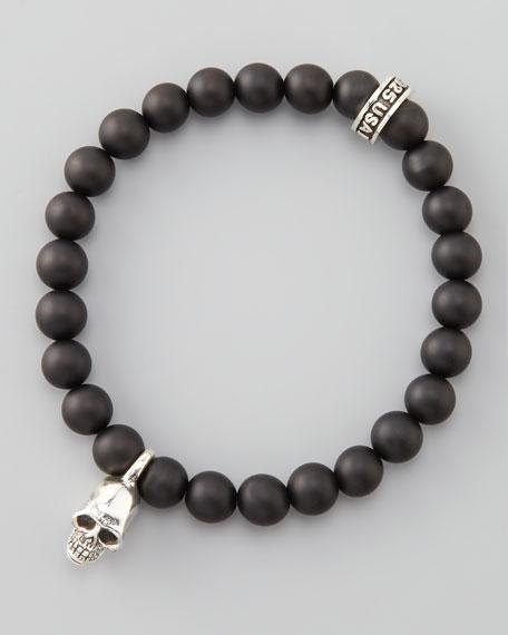 Skull Onyx-Bead Bracelet
