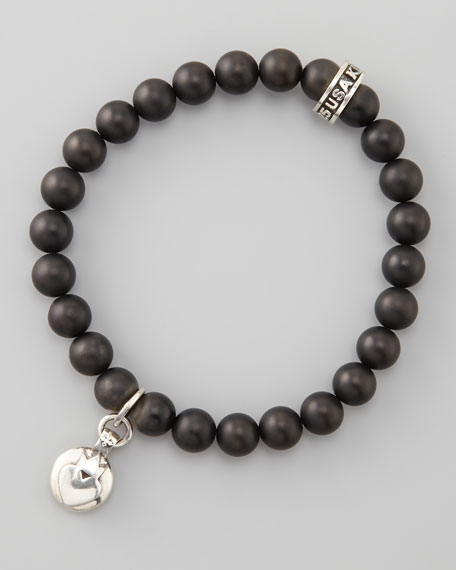 Crowned Heart Onyx-Bead Bracelet
