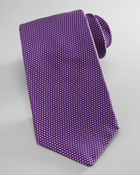 Nailhead Silk Tie, Purple