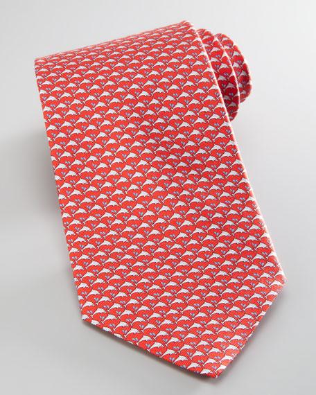 Dolphins Silk Tie, Red