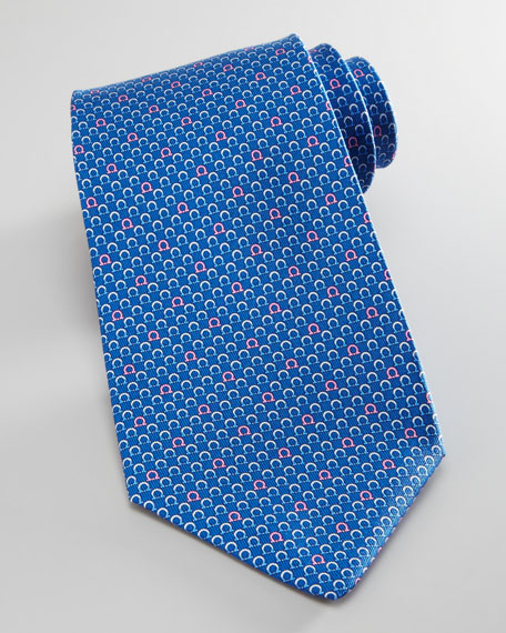 Gancini Silk Tie, Royal