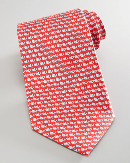 Whales Silk Tie, Red