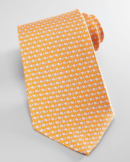 Whales Silk Tie, Orange