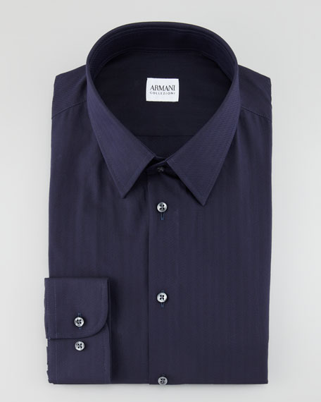 Tonal Stripe Shirt, Navy