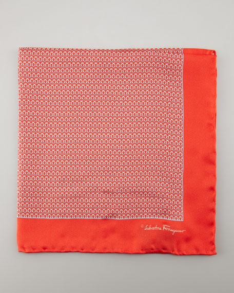 Gancini Silk Pocket Square, Red
