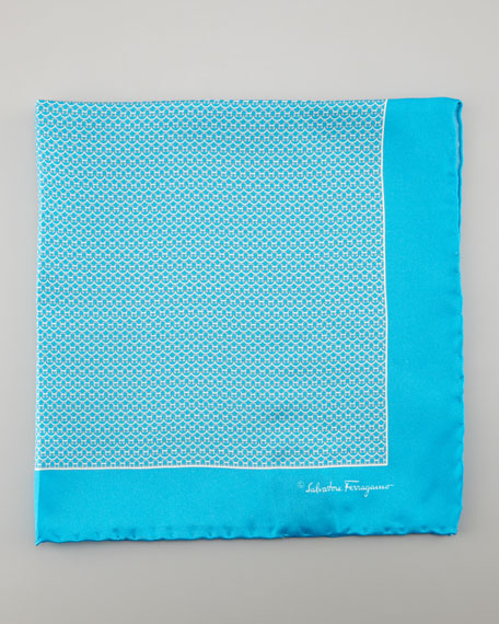 Gancini Silk Pocket Square, Turquoise