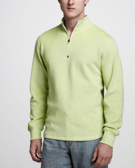 Gunther Striped Zip Sweater, Lime