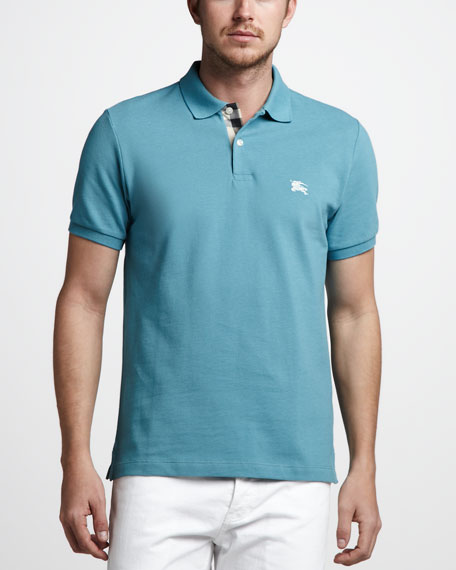 Check-Tape Pique Polo, Cobalt Turquoise