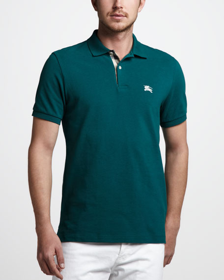 Check-Tape Pique Polo, Teal Green