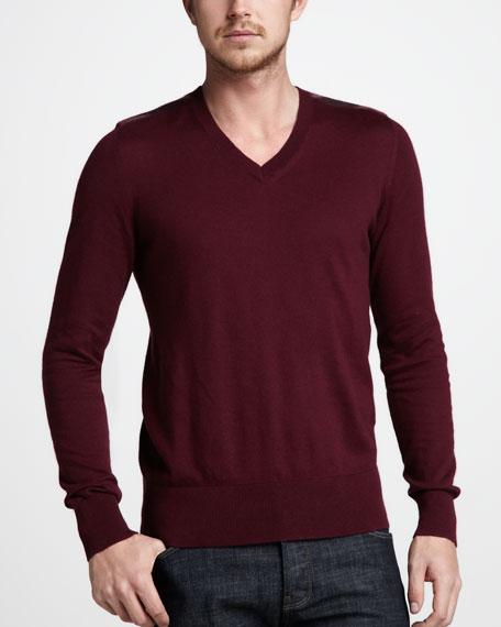 Cashmere-Cotton Sweater, Boysenberry
