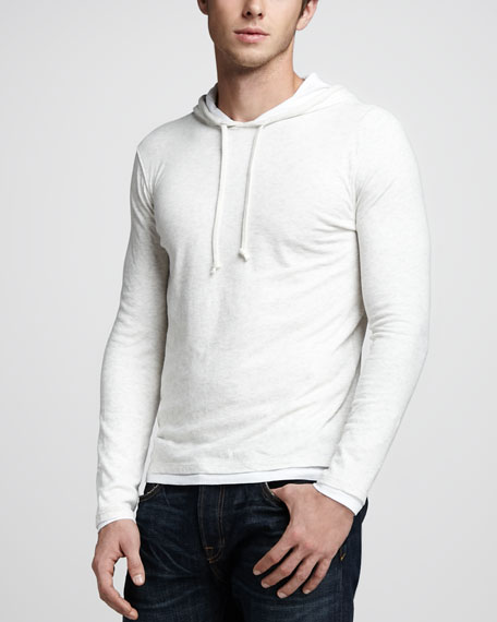 Double-Layer Hoodie, Heather White