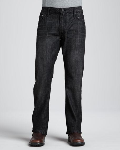 Flag & Stud Pocket Jeans, Black