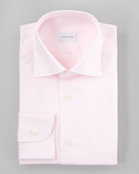 Herringbone Dress Shirt, Pink