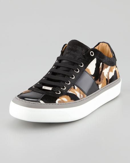 Portman Camo-Print Calf Hair Sneaker