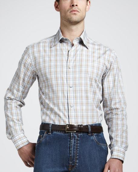 Check Sport Shirt, Gray/Tan