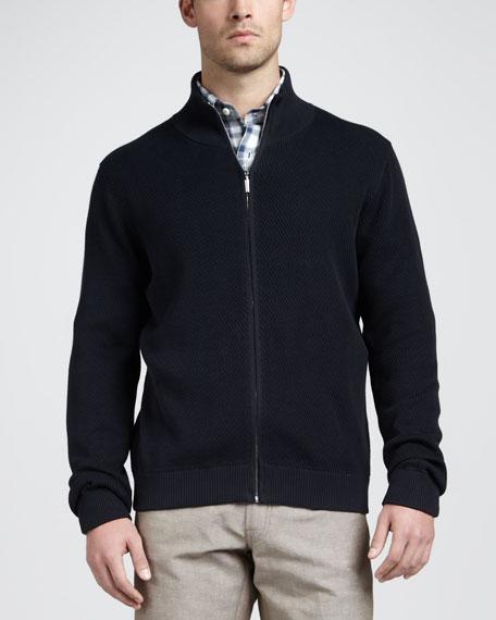 Ribbed Cotton-Silk Zip Jacket