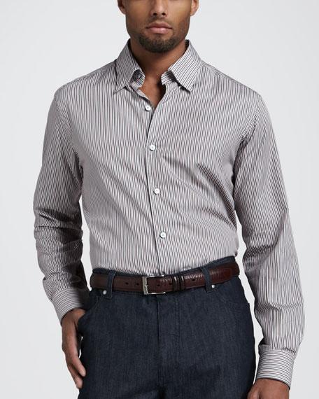 Multi-Stripe Sport Shirt, Red/Graphite