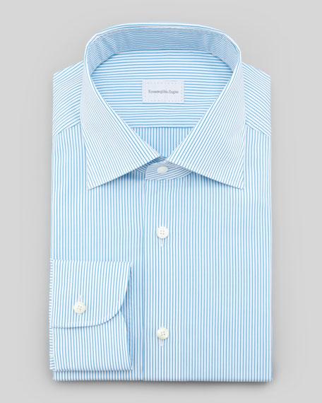 Pinstripe Dress Shirt, Aqua