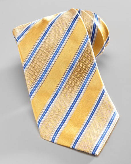 Satin-Stripe Silk Tie, Yellow