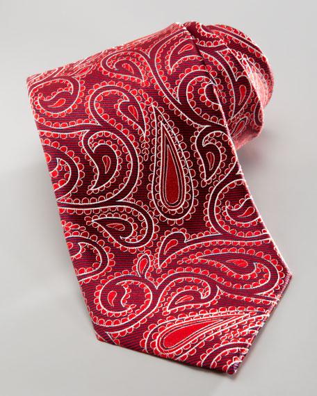 Tonal-Paisley Silk Tie, Red