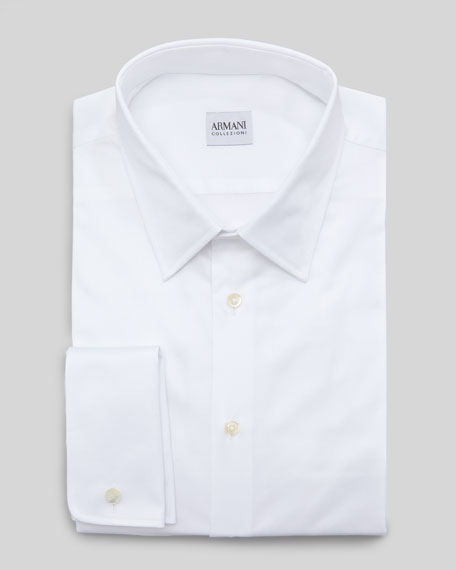 Basketweave French-Cuff Dress Shirt