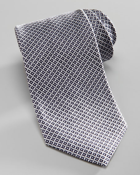 Diamond-Pattern Silk Tie, Navy