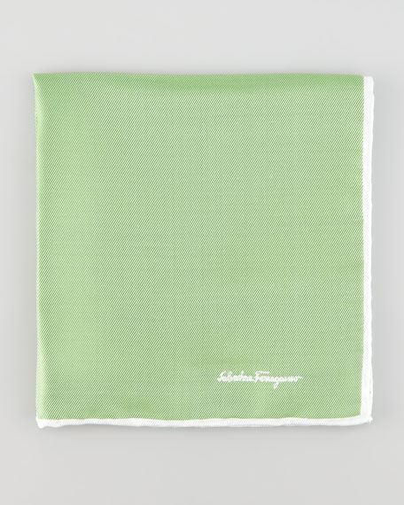 Two-Tone Silk Pocket Square, Green