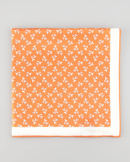 Floral-Print Silk Pocket Square, Orange