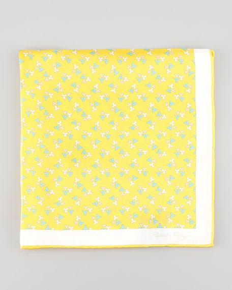 Floral-Print Silk Pocket Square, Yellow