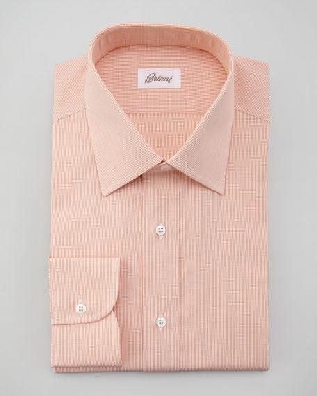 Micro-Check Dress Shirt, Orange