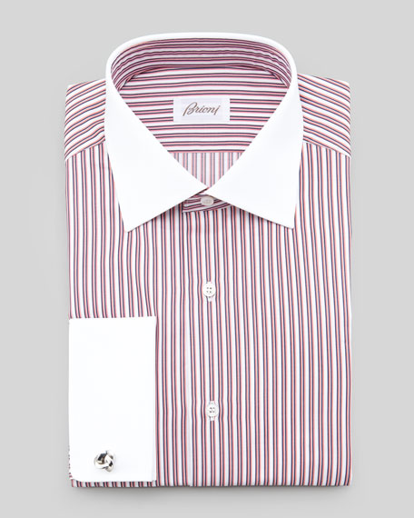 Contrast-Collar Striped Dress Shirt, Orange