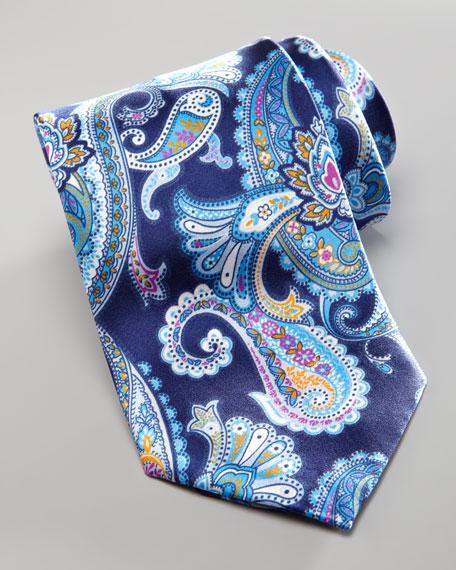 Large-Paisley Silk Tie, Navy