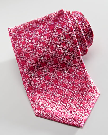 Fancy-Squares Silk Tie, Raspberry