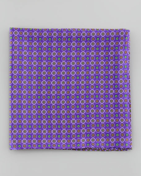 Small Medallion Neat Pocket Square, Purple