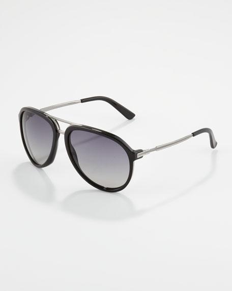 Men's Aviator Sunglasses, Black