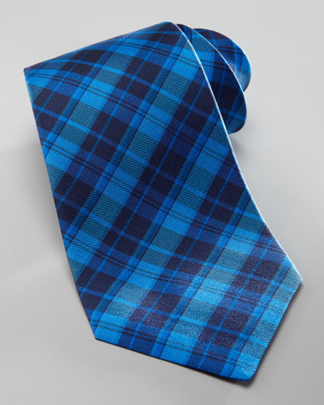 Overdyed Plaid Silk Tie