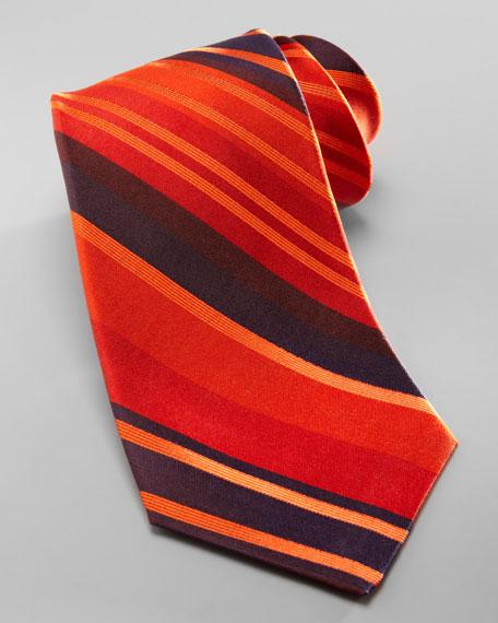 Striped Overdye Tie, Orange