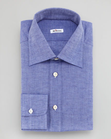 Linen-Cotton Dress Shirt, Blue