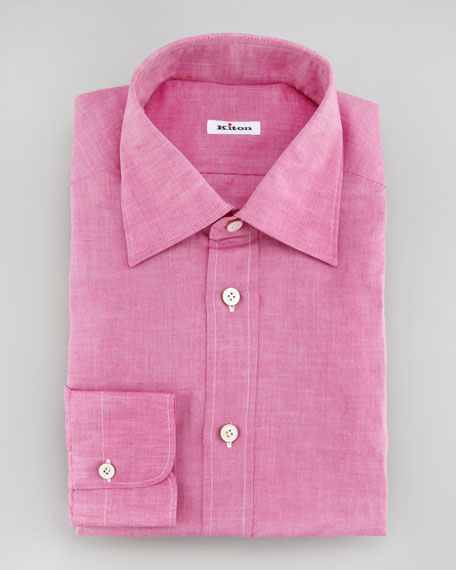 Linen-Cotton Dress Shirt, Magenta