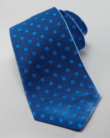Polka-Dot Silk Tie, Navy