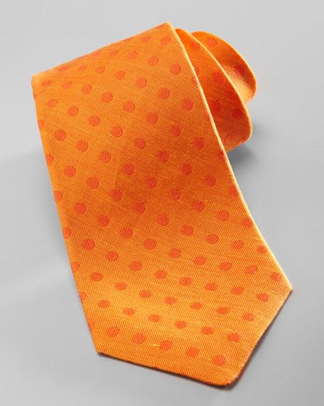 Over-Dye Polka-Dot Silk Tie, Orange