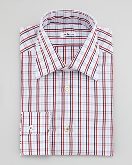 Large-Check Dress Shirt, Red
