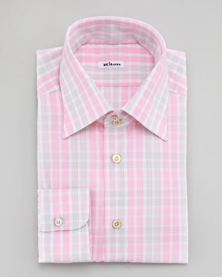 Exploded-Check Dress Shirt, Pink