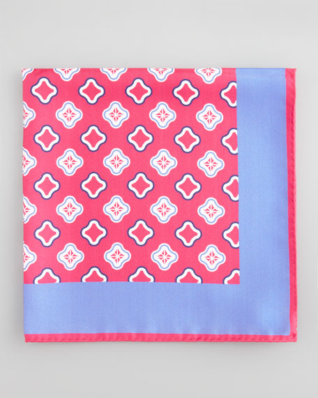 Medallion Silk Pocket Square, Magenta
