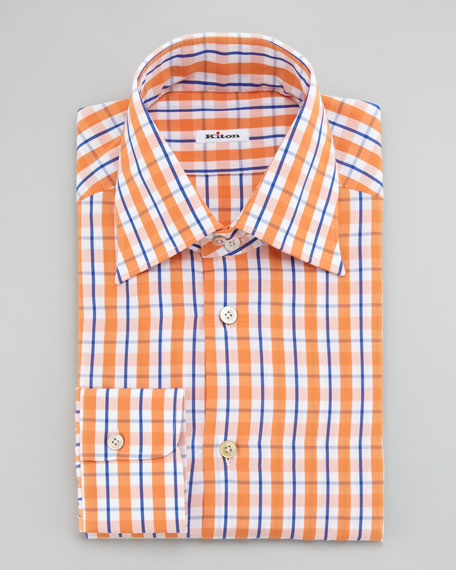 Bold Tattersall Check Dress Shirt, Orange