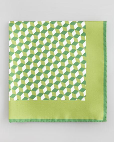 Cube-Print Silk Pocket Square, Green