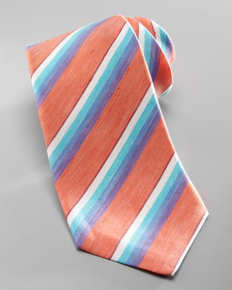 Washed Linen-Silk Rainbow Tie, Orange